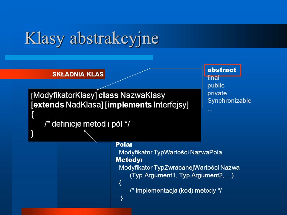 Klasy abstrakcyjne [extends NadKlasa] [implements Interfejsy] {